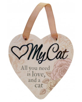 H&H Sentiment Heart Plaque My Cat