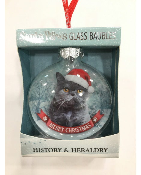 Christmas Tree Decoration Personalised Grey Cat