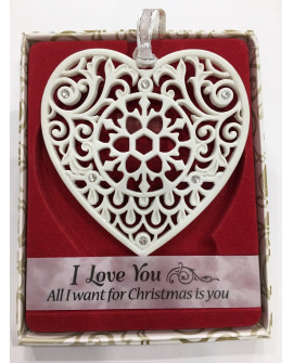 CHRISTMAS TREE DECORATIONS with CRYSTALS FROM SWAROVSKI®  Keepsake I LOVE YOU