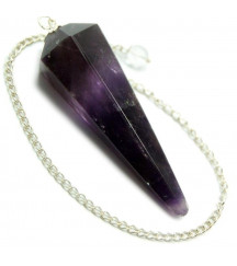 AMETHYST 6 SIDED FACETED PENDULUM