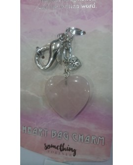 ROSE QUARTZ KEY RING BAG CHARM