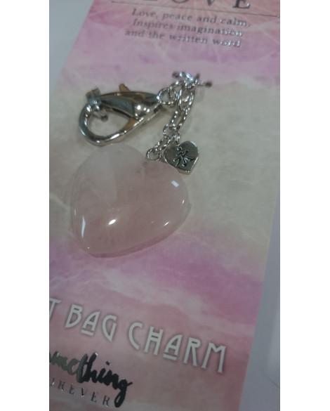 ROSE QUARTZ KEY RING BAG CHARM