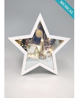 Christmas Scene Light Up Ornament Star Shaped