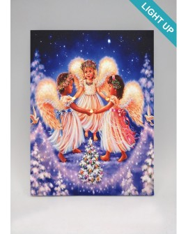 CHRISTMAS CANVAS PRINT WALL ART LED PAINTING ANGELS IN HEAVEN