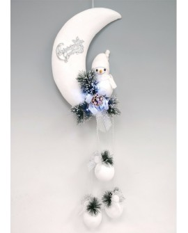 Christmas White Snowman In The Moon