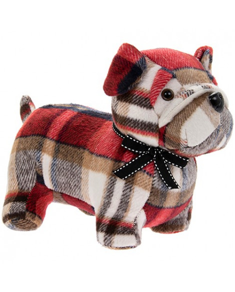 Lesser & Pavey Dog Doorstop Red Tartan Pug