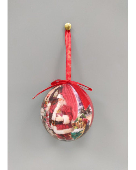 CHRISTMAS DECORATIONS, SANTA BAUBLES SET OF 6
