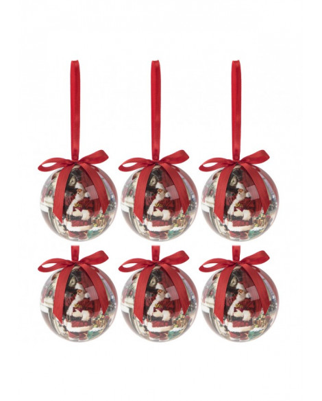 Christmas Decorations Santa Baubles Set Of 6