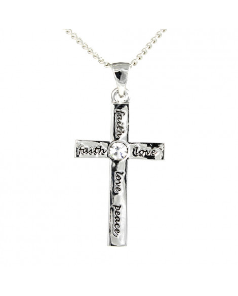 Lila Christian Cross Love Peace Faith Pendant
