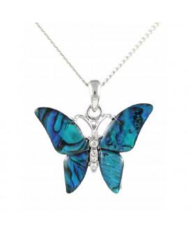 Lila Paua Shell Butterfly Pendant