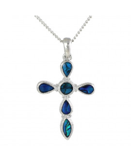 Lila Paua Shell Cross Pendant