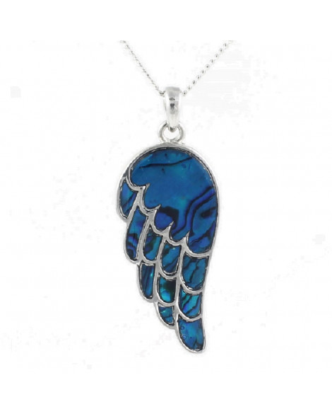 Lila Paua Shell Angel Wing Pendant