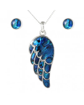 Lila Paua Shell Angel Wing and Earrings Stud Set